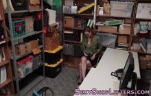 Slutty amateur thief gets facialized