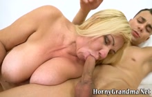 Cougar gets tits fucked and cumshot