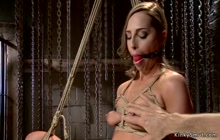 Small tits babe is tormented on hogtie