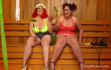 Two plump mistresses strapon fuck a guy