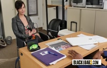 Deep throat at the office by wild and nasty college teen and her black tutor.
