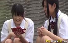 Urinating japanese teens in uniform