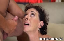 Cougar gets ass rimmed and sucks dick