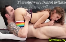 Uniformed teen sucking and riding