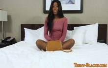 Ebony teen gets round butt spermed