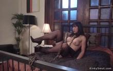 Redhead lezdom anal fucks Asian slave