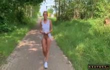 Kinky German Blonde MILF Outdoor Creampie