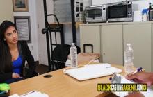 Black interviewer is enjoying a nice blowjob from a petite Latina teen.