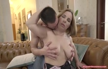 Busty granny gets a big hard cock in her pussy
