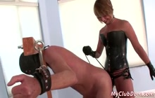 Sexy lady fucks a dudes ass with a dildo in BDSM