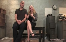 Blonde Mistress Having Pleasure With Her Tied Slave